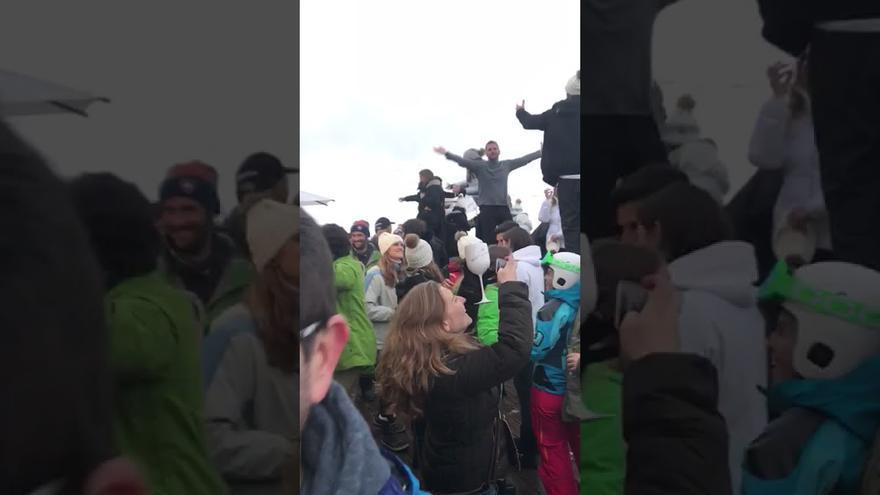 Vídeo de la supuesta celebración (desmentida por Maldito Bulo) en Baqueira Beret tras la detención de Puigdemont