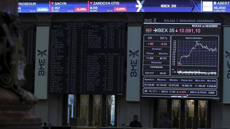 La Bolsa española abre al alza pero no recupera los 10.100 puntos