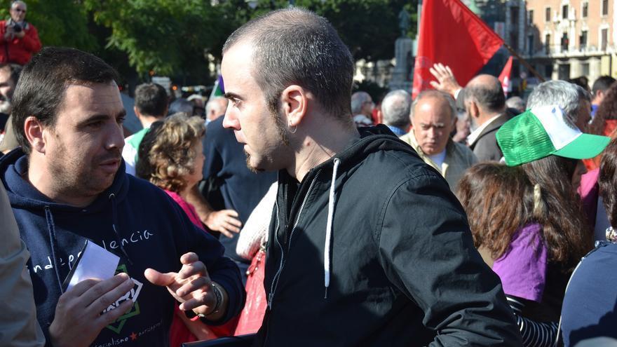 Francisco Molero, durante una manifestación de apoyo