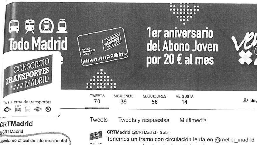 Pantallazo de la cuenta no oficial del Consorcio de Transportes.