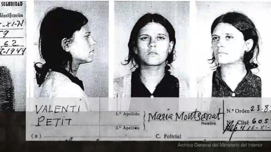 Fotograma del documental 'L'ombra dels Creix' con la ficha policial de una estudiante detenida