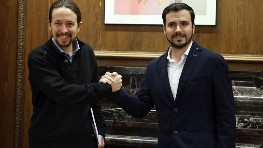 Pablo Iglesias y Alberto Garzón, en una imagen de archivo en el Congreso.