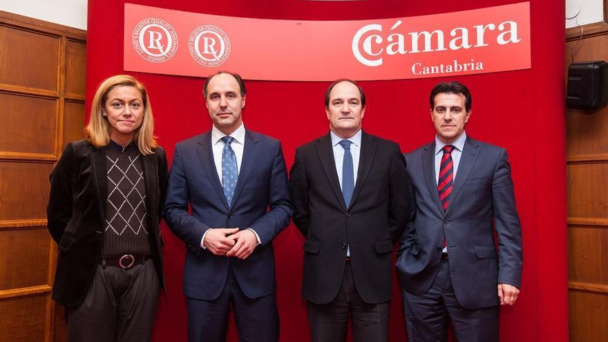 Jorge Gómez de Cos, a la derecha, junto a Modesto Piñeiro, Ignacio Diego y Cristina Mazas. | Raúl Lucio