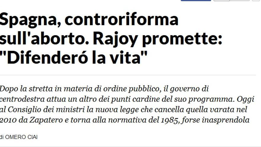 La contrarreforma de la ley del aborto, según La Repubblica.