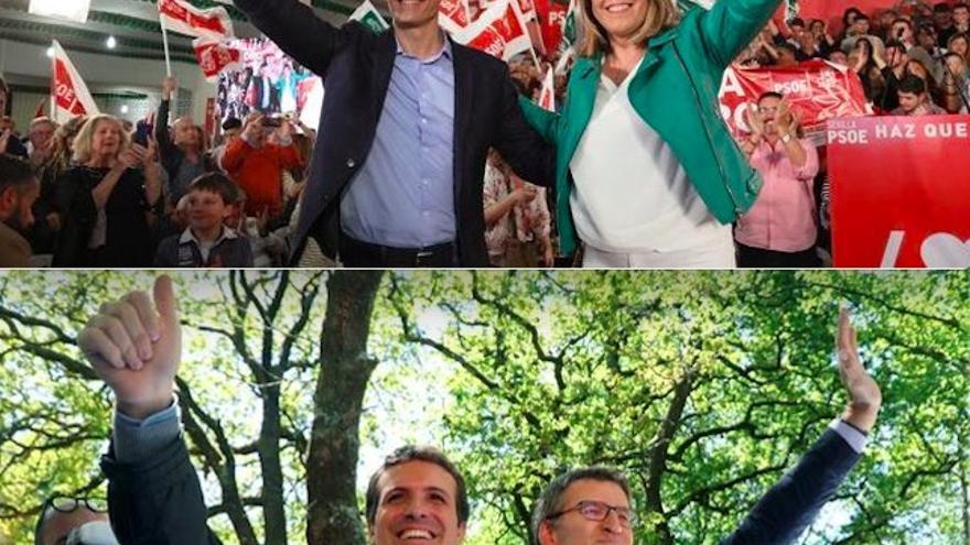 Pedro Sánchez y Susana Díaz de mitin en Dos Hermanas abriendo campaña 28A y Pablo Casado y Alberto Núñez Feijóo en Galicia este sábado 4 de precampaña 26M