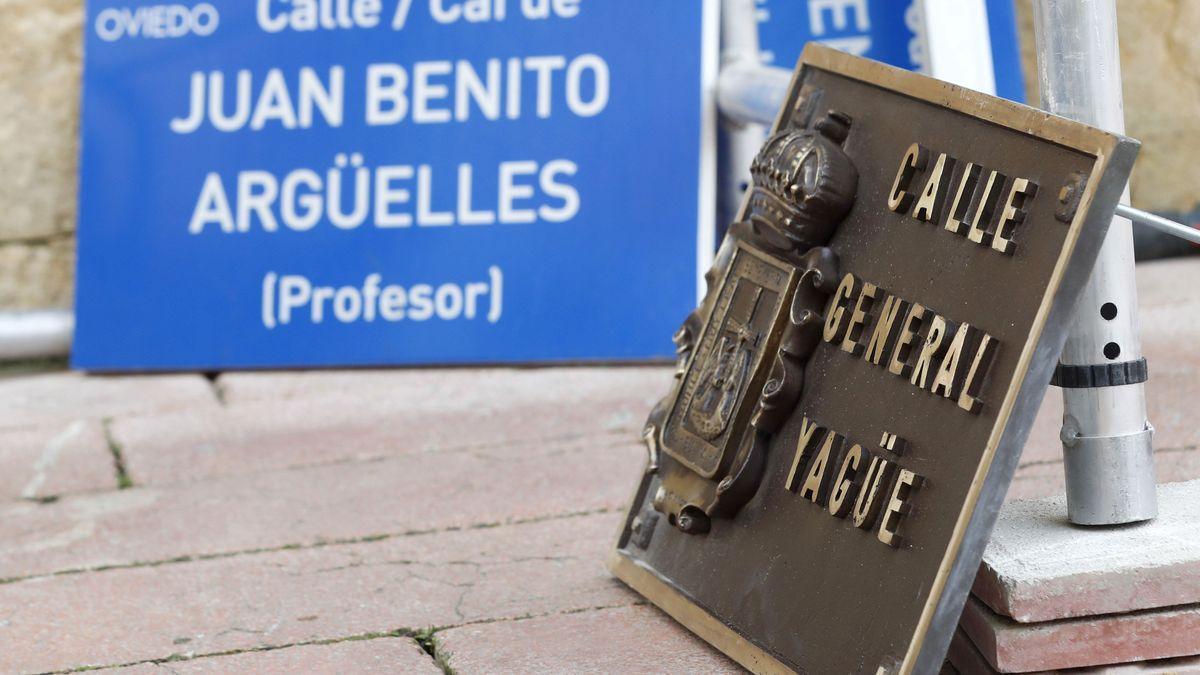 La calle del general Yagüe había sido sustituida por el gobierno local de PSOE, IU y Somos en cumplimiento de la Ley de Memoria Histórica