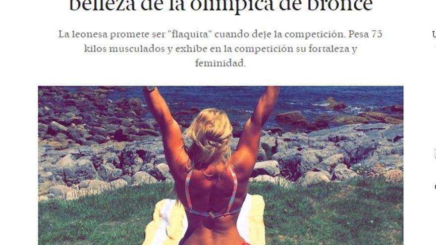 """Cobertura machista, El Español: """"Lydia Valentín, la exuberante belleza de la olímpica de bronce"""""""