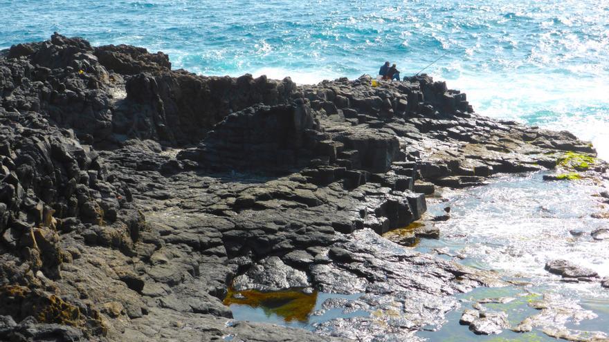 Zonas de algas (color verde) que llega hasta El Bufadero en Telde