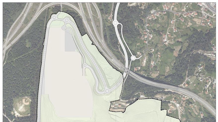 Distribución de los espacios de la ciudad deportiva del Celta en Mos, junto al enlace de las autopistas AP-9 y AG-57 al Val Miñor