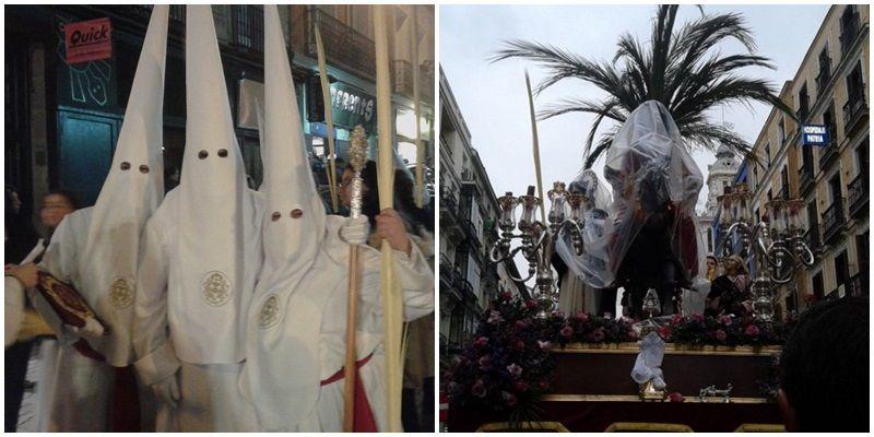 Dos de las imágenes que dejó la procesión de La Borriquita en Madrid | @BORRIQUITAMADRI