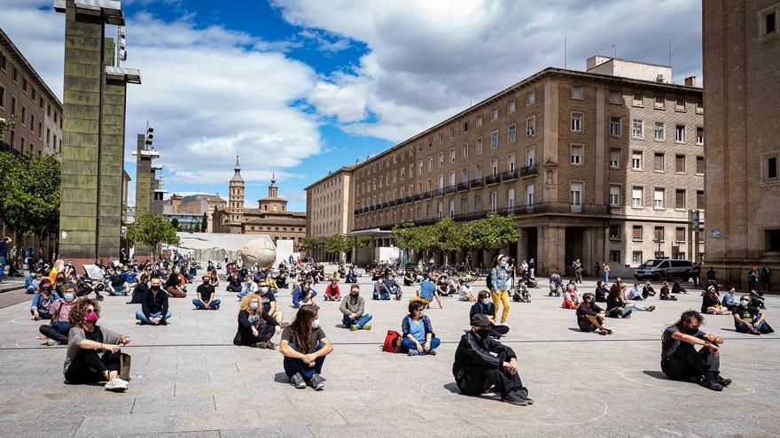 Acción de la Plataforma en la Plaza del Pilar el pasado mes de junio.