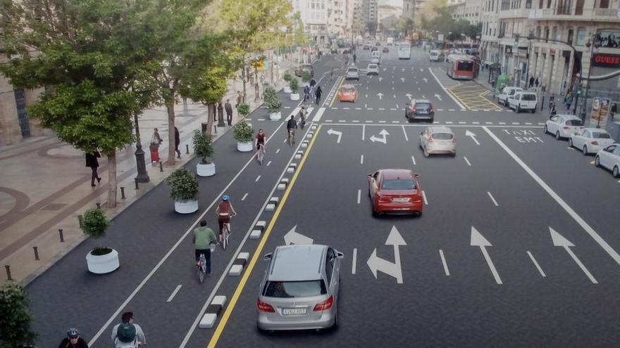 Proyección del futuro anillo ciclista en la calle Xàtiva