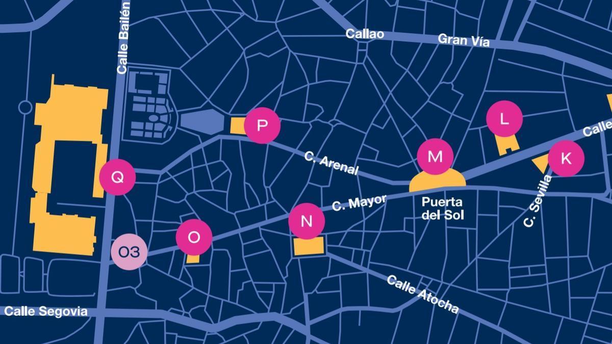 Detalle del mapa del festival Luz Madrid 2021