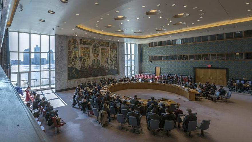 Cortinas abiertas en la sala del Consejo de Seguridad de la ONU