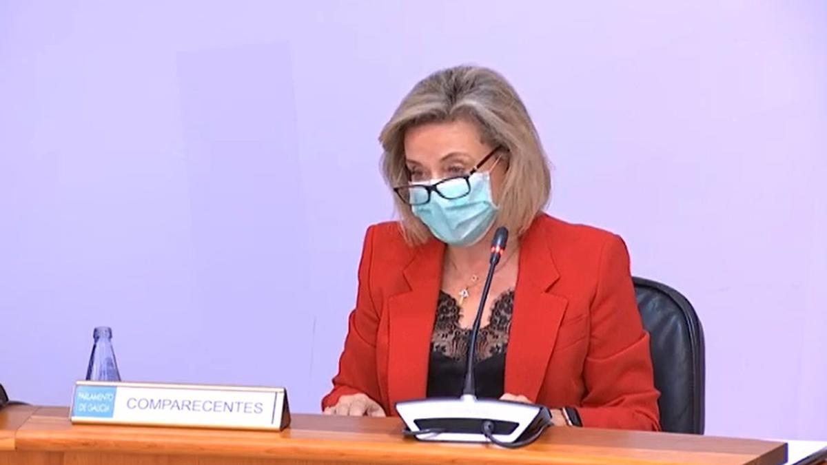 Josefina Fernández, durante su comparecencia en el Parlamento de Galicia/ Europa Press