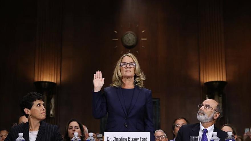 Christine Blasey Ford durante su comparecencia ante el comité judicial del Senado.