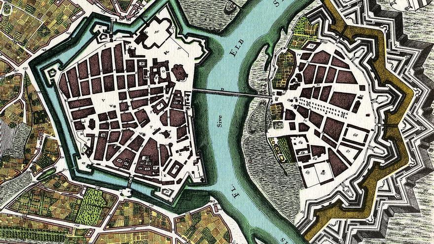 El mapa del centro de la ciudad alemana de Dresde en 1750