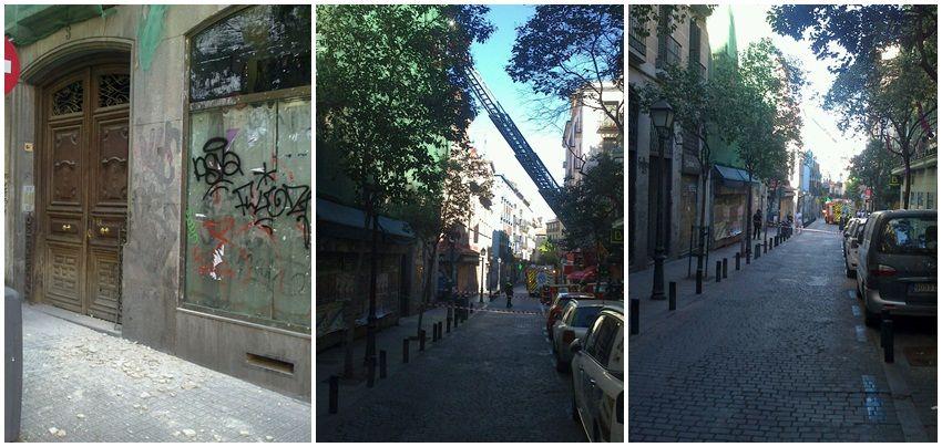 Restos de cascotes sobre la acera e intervención de los bomberos en Pez, 3 | Fotos:  Juan Carlos Ruiz