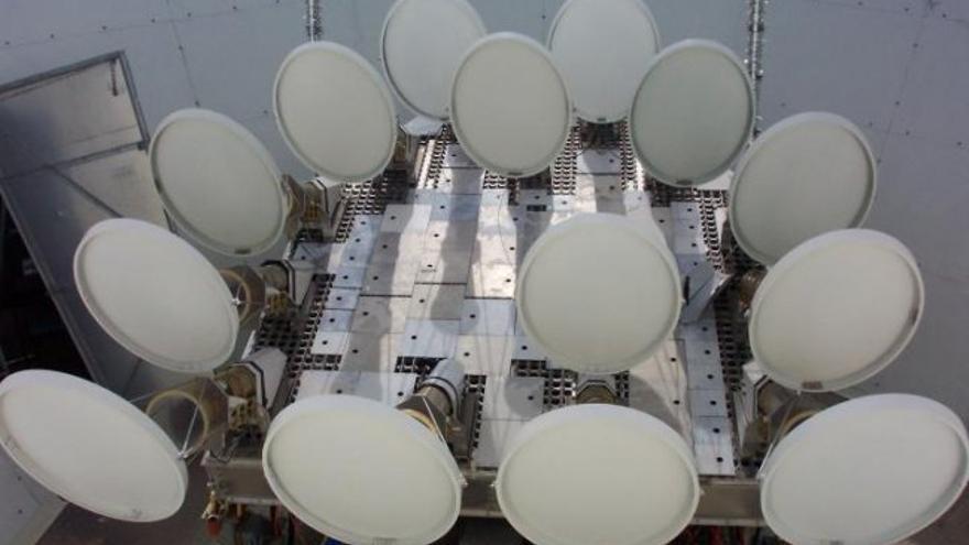 Antenas del interferómetro Very Small Array en configuración súper extendida