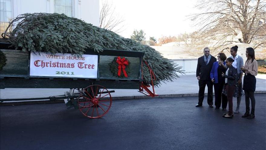 Michelle Obama recibe árbol navideño que adornará Salón Azul de Casa Blanca