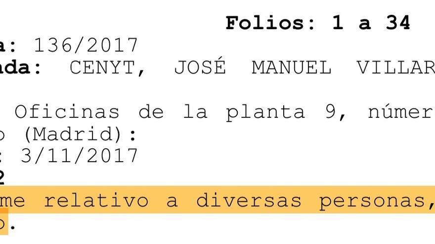 Captura del auto de 2018 en el que se alude al documento sobre Artur Mas que el juez ha dejado bajo secreto