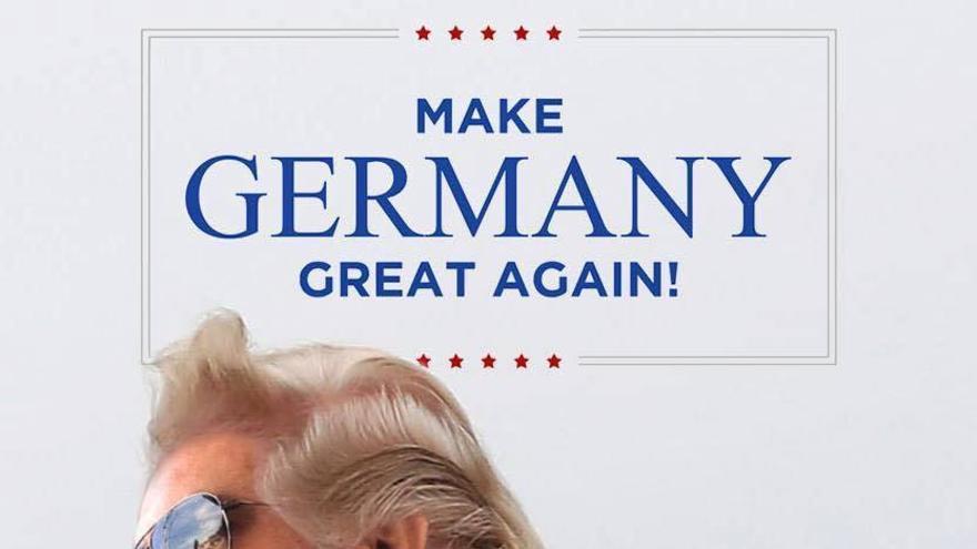 El cómico Serdar Somuncu, líder del partido satírico, en un cartel parodiando a Donald Trump.