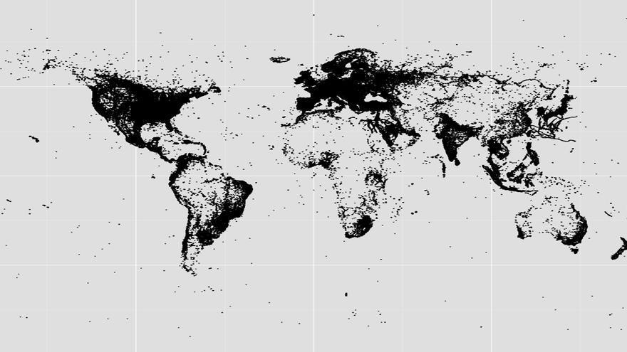 Mapa de todos los tuits con foto que se publicaron en 2012