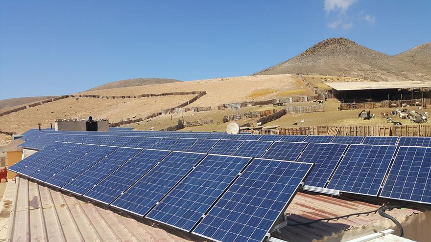 Paneles solares colocados en el techo de la instalación