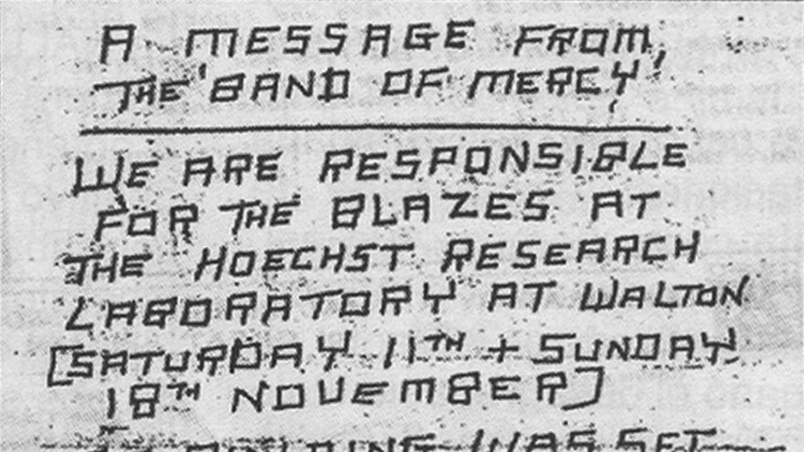 Comunicado de prensa de la Band of Mercy tras el sabotaje incendiario a Milton Keynes en 1973