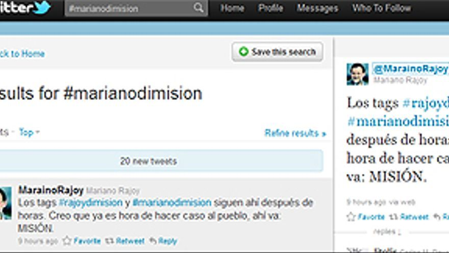 Imagen de la búsqueda del 'hastag' #marianodimision. (CANARIASAHORA)