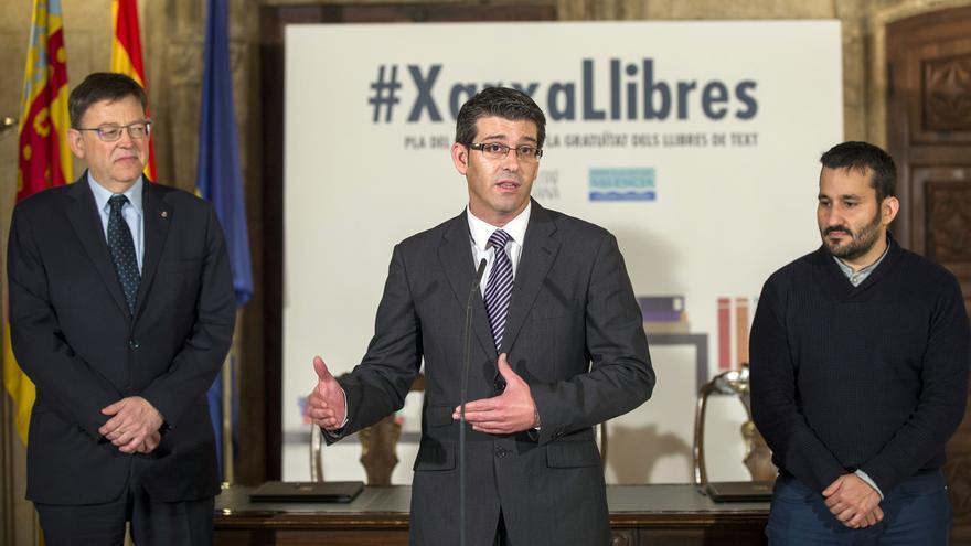 El presidente de la Diputación de Valencia, Jorge Rodríguez, junto al president Ximo Puig y el conseller Vicent Marzà