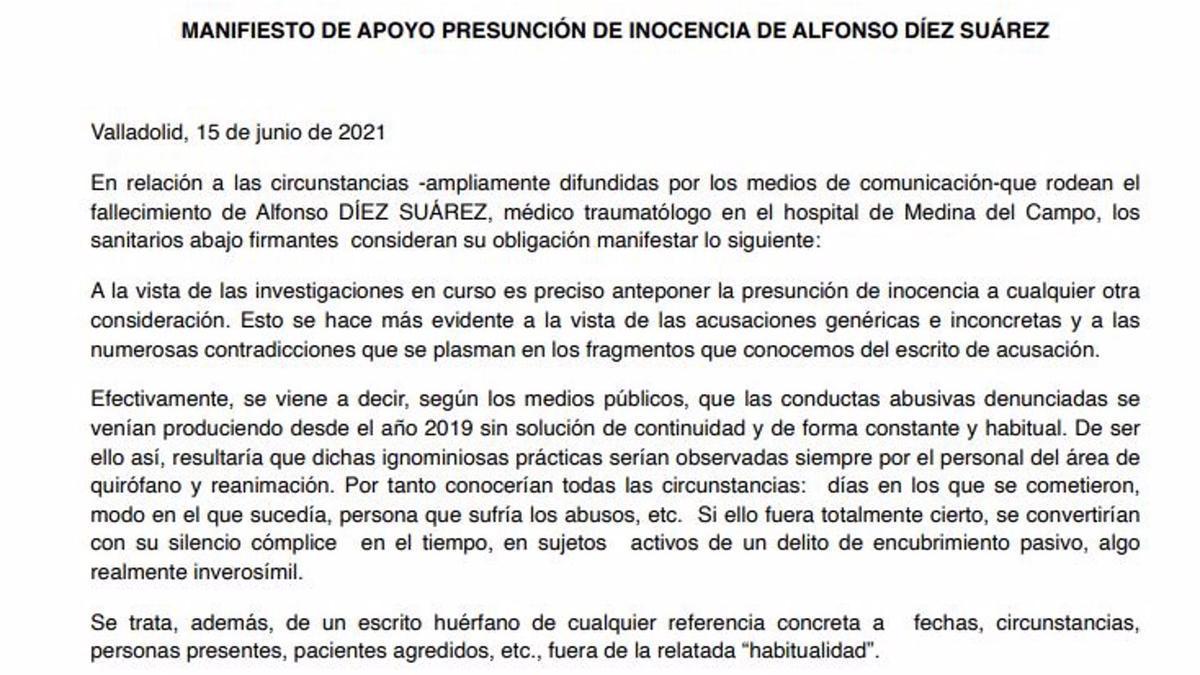 Manifiesto de apoyo al médico investigado.