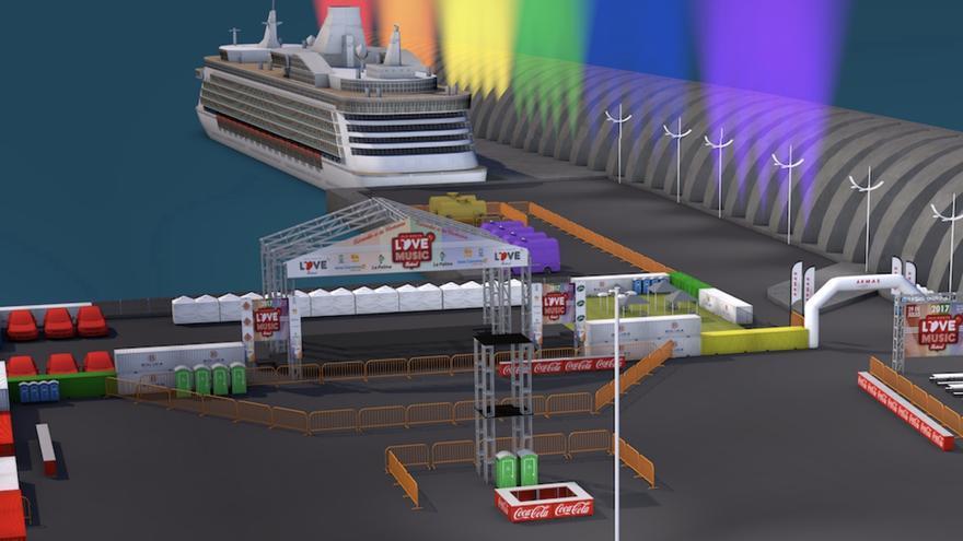 Puerta 2, barco de Naviera Armas y luces 'arco iris' en el dique exterior.