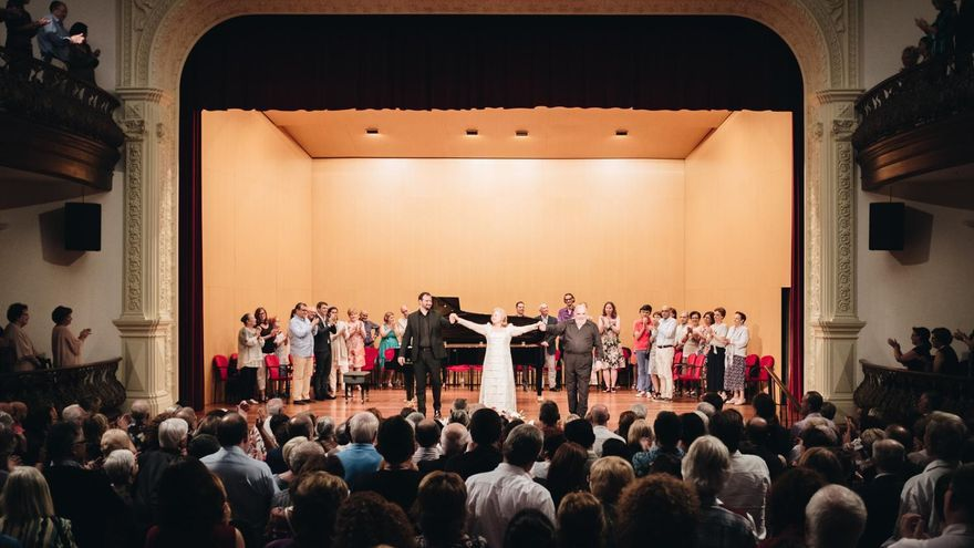 Un momento del concierto ofrecido en la noche del domingo por Edita Gruberova, Paolo Gavanelli y Peter Valentovic, que cerró el II La Palma Festival Internacional de Música.
