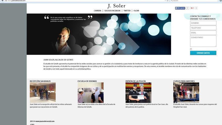 Encabezamiento de las páginas webs zombis dedicadas a Juan Soler