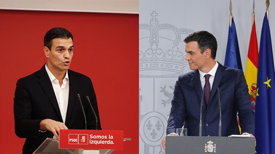 Pedro Sánchez en la oposición y Sánchez como presidente del Gobierno en Moncloa