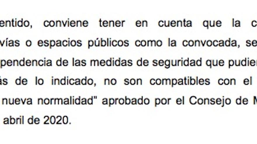 Fragmento de la resolución de Interior