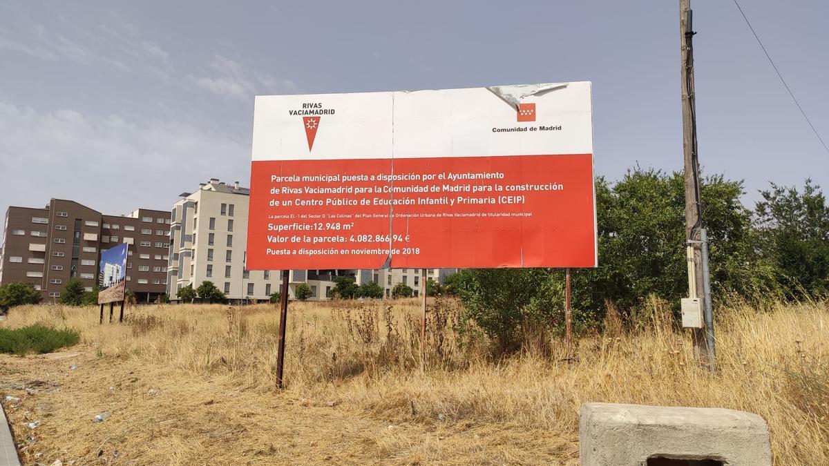 Parcela de Rivas donde se construirá el nuevo CEIP Hispanidad.