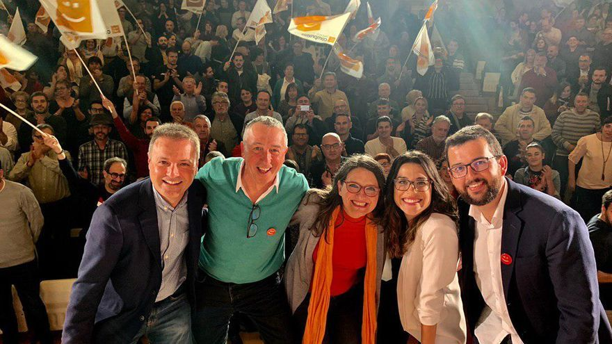 Los candidatos de Compromís en el acto celebrado en Alicante