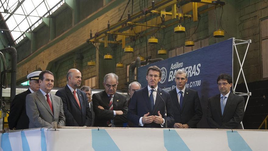 Feijóo interviene en el acto de botadura del barco construído por Pemex en Barreras