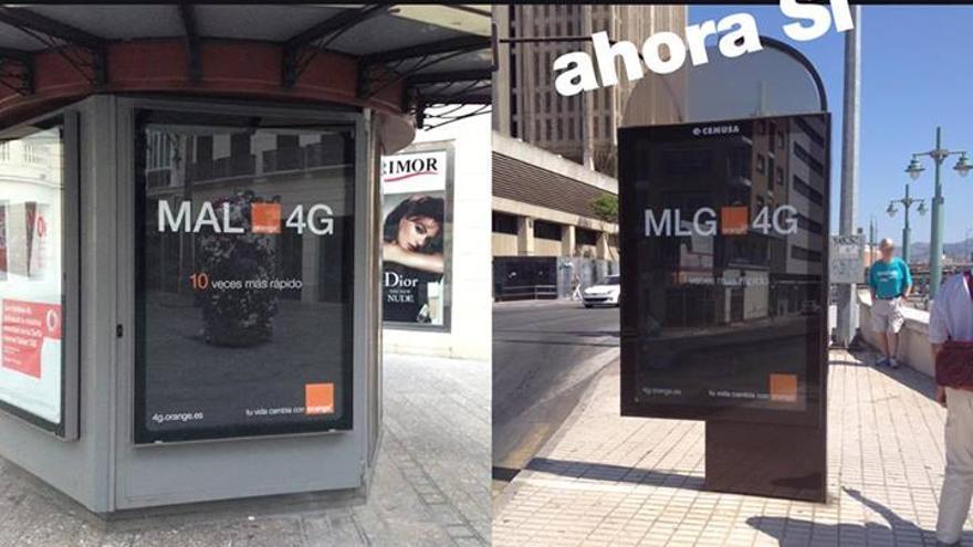 La campaña de publicidad de Orange en Málaga no dejaba en muy buen lugar al 4G (Foto: El Circo de la Publicidad en Facebook)