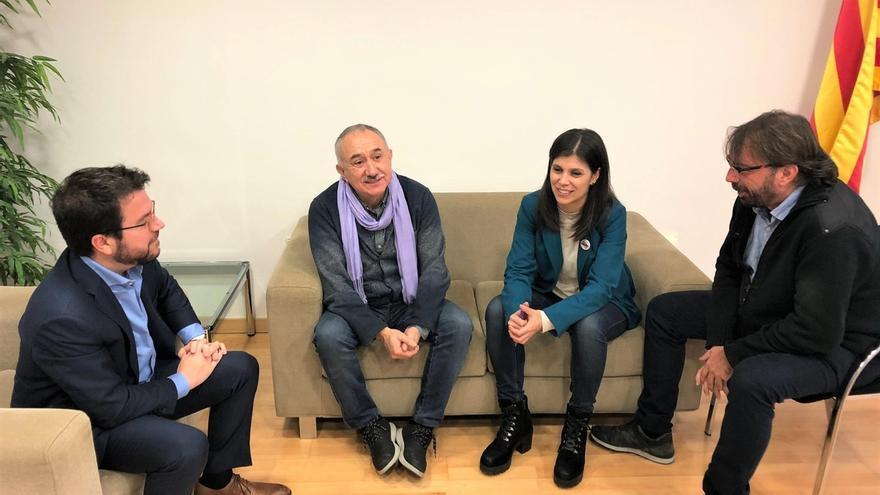Álvarez y Ros (UGT) visitan a Junqueras y Romeva y se reúnen en ERC con Aragonès y Vilalta