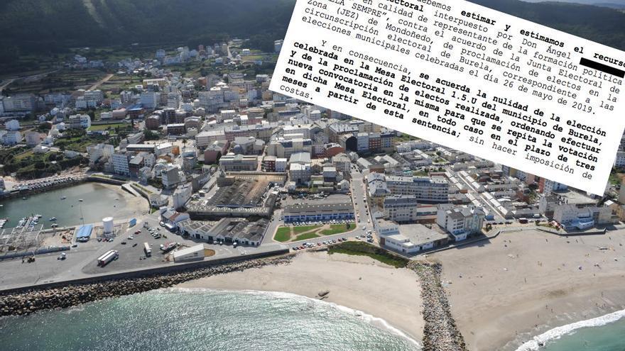 Vista aérea de Burela (Lugo) en una imagen de la Xunta y fragmento de la sentencia