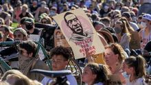 People participate in a protest over the Minneapolis, Minnesota arrest of George Floyd, who later died in police custody, in St. Paul, Minnesota, USA, 01 June 2020.