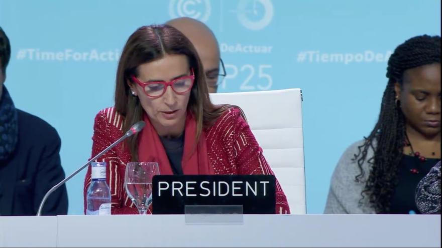 La presidenta de la COP25, la ministra chilena Carolina Schmidt, este domingo