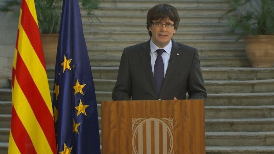 Puigdemont durante su última comparecencia en una sede de la Generalitat