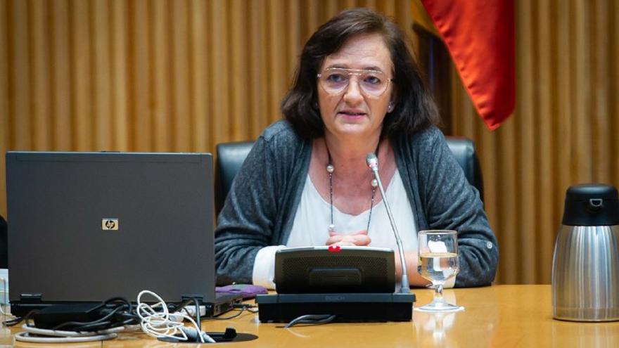 La presidenta de la AIReF, Cristina Herrero, en la Comisión para la reconstrucción del Congreso