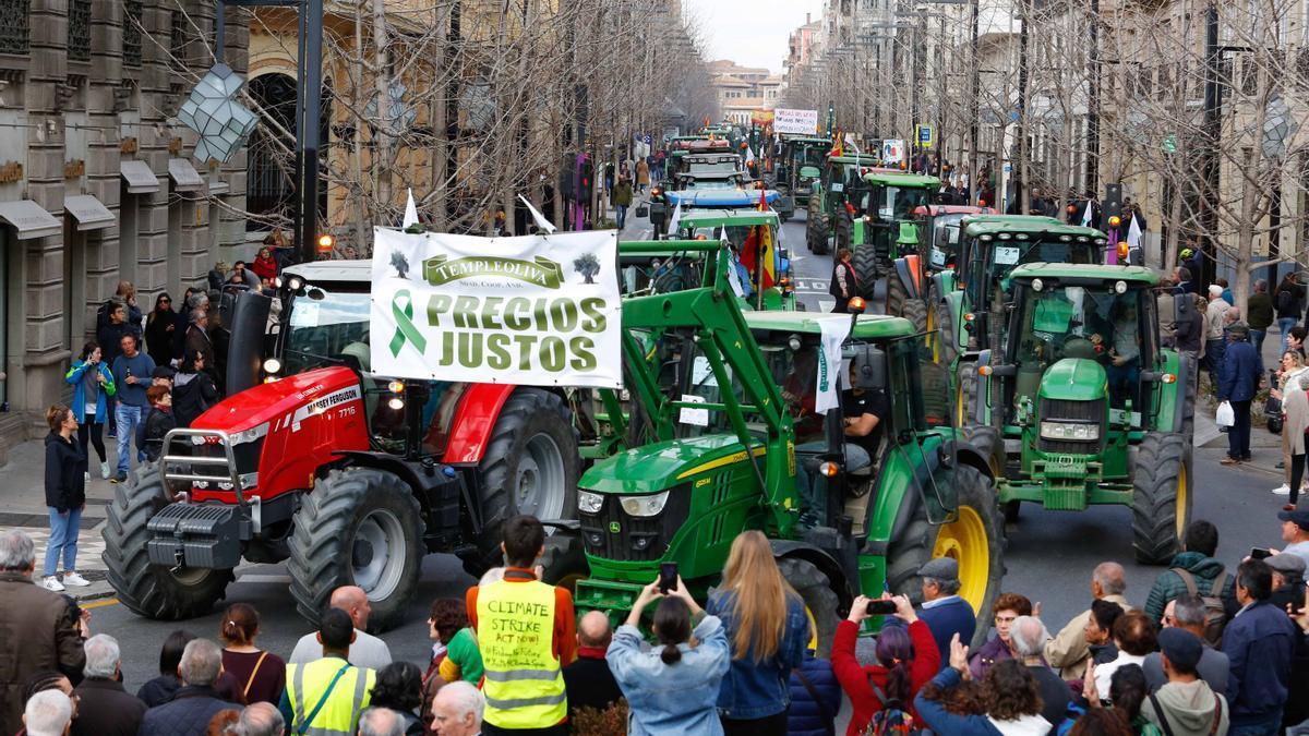 Manifestación de agricultores con tractores en Granada.