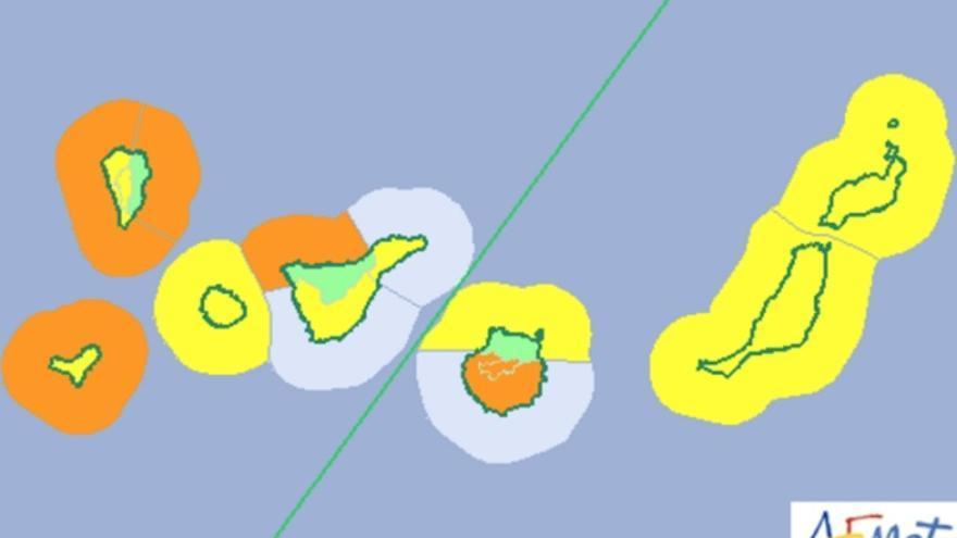 Alertas de la Aemet para Canarias el martes 25 de octubre