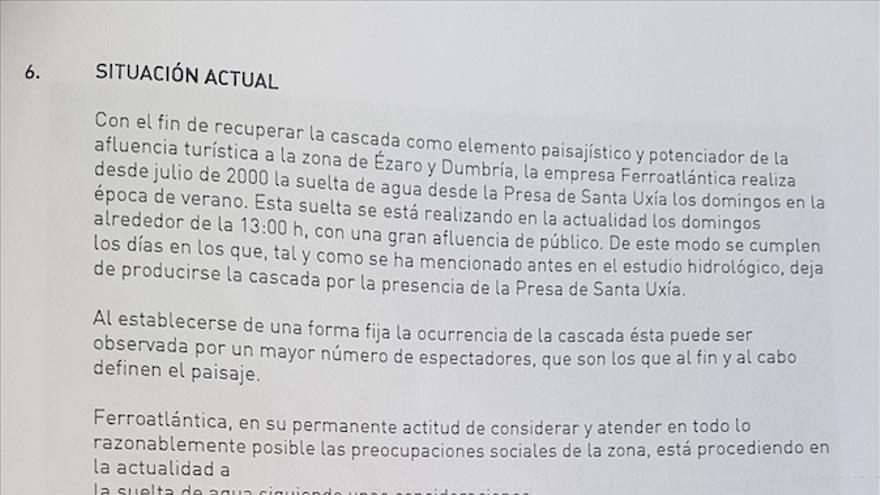 Extracto del informe realizado por la empresa de Villar Mir para justificar el secado de la cascada.
